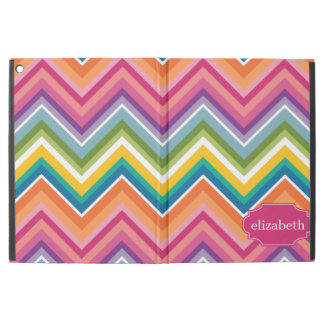 """Colorful Huge Chevron Pattern with name iPad Pro 12.9"""" Case"""
