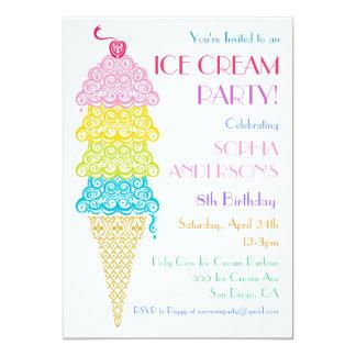 """Colorful Ice Cream Cone Party Invitation 5"""" X 7"""" Invitation Card"""