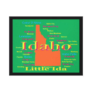 Colorful Idaho State Pride Map Canvas Print