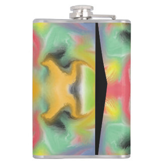 Colorful kaleidoscope pattern hip flask
