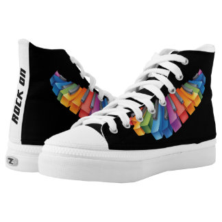 Colorful Keyboard Rock Star Printed Shoes