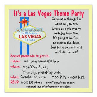 Colorful Las Vegas Welcome Sign Theme Parties 13 Cm X 13 Cm Square Invitation Card