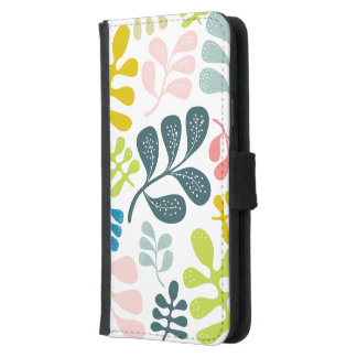 Colorful Leaves Modern Foliage Pattern Samsung Galaxy S5 Wallet Case