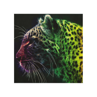 colorful leopard wood wall art