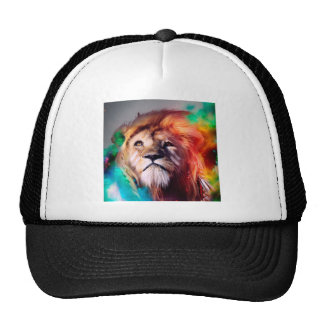Colorful lion looking up Feathers Space Universe Cap