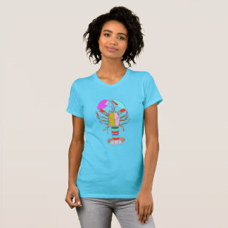 Colorful Lobster Bright Blue Summer T-Shirt