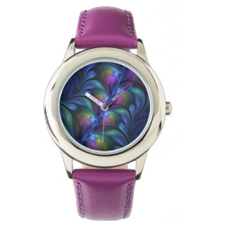 Colorful Luminous Abstract Blue Pink Green Fractal Watch