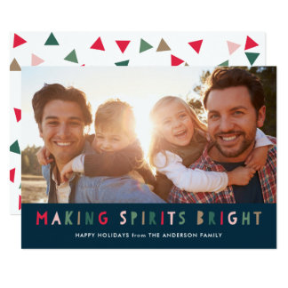 Colorful Making Spirits Bright Holiday Photo Card