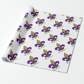 Colorful Mardi Gras Fleur De Lis Wrapping Paper