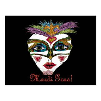 Colorful Mardi Gras Glitter Feather Mask Postcard