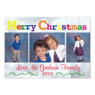 Colorful Merry Christmas Silver Lights 3 Photos Card