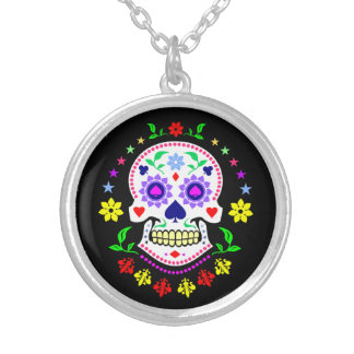 Colorful Mexican Day of the Dead Sugar Skull Silver Plated Necklace