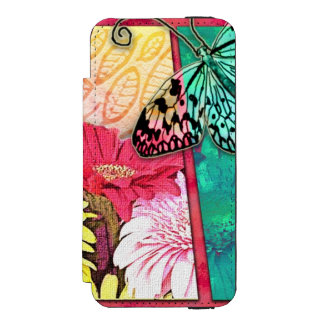 Colorful Mixed media Flowers And Butterflies Incipio Watson™ iPhone 5 Wallet Case