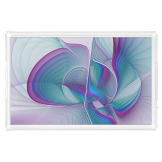 Colorful Modern Pink Blue Turquoise Fractal Art Acrylic Tray