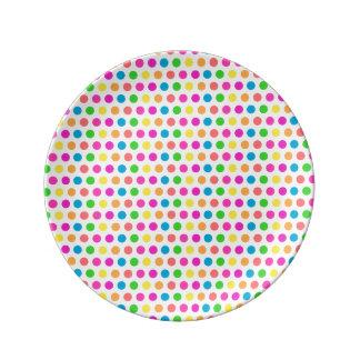 Colorful Modern Polka Dot Fun Pattern Porcelain Plates