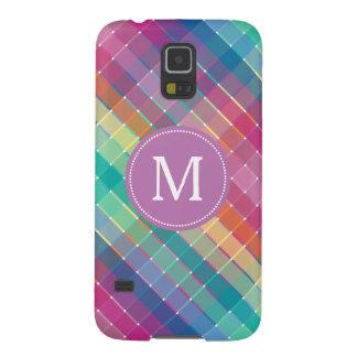 Colorful Monogram Initial Rainbow Plaid Stripes Galaxy S5 Cover