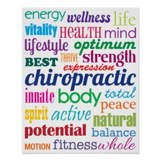 Colorful Motivational Word Collage Chiropractic Poster