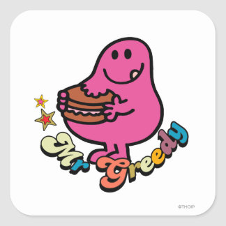 Colorful Mr. Greedy Eating Square Sticker