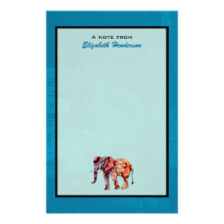Colorful Multicolored Elephant on Blue Background Stationery