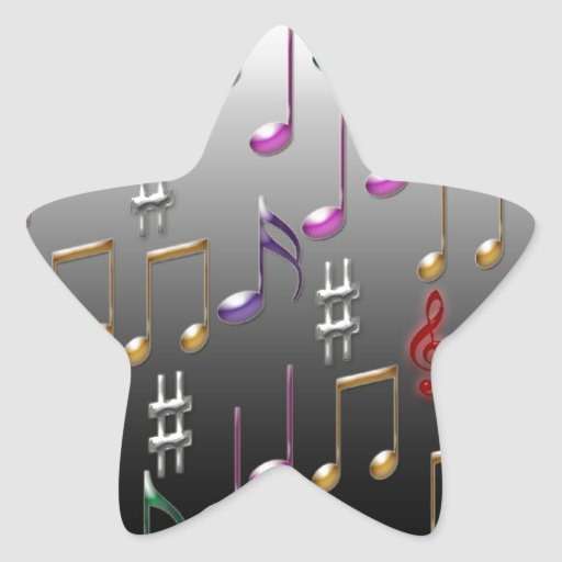 Colorful musical notes on grey background sticker