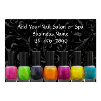 Colorful Nail Polish Bottles, Nail Salon Sign Poster