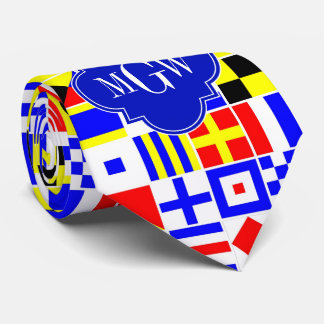 Colorful Nautical Signal Flags Royal 3I Monogram Tie