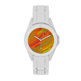 Colorful Orange Abstract Art Wristwatches