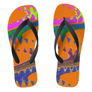 Colorful Orange Abstract Thongs