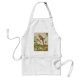 Colorful Orange and Brown Parrot on Bamboo Adult Apron