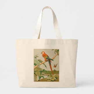 Colorful Orange and Brown Parrot on Bamboo Jumbo Tote Bag