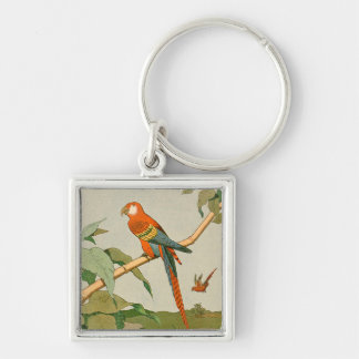 Colorful Orange and Brown Parrot on Bamboo Silver-Colored Square Key Ring