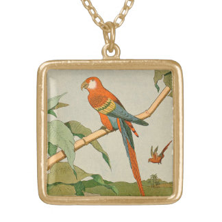 Colorful Orange and Brown Parrot on Bamboo Square Pendant Necklace