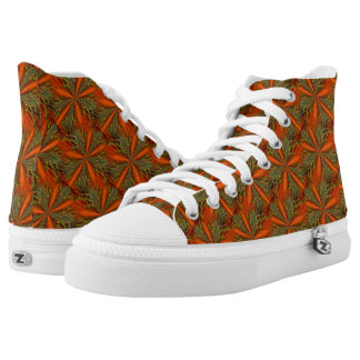 Colorful Orange And Green Abstract Pattern High Tops