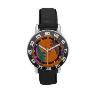 colorful orange blue abstract wrist watch
