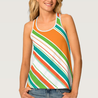 Colorful Orange Dots and Stripes Tank Top