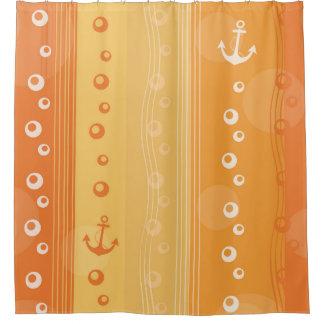 Colorful Orange Nautical Summer Design Shower Curtain