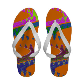 Colorful orange orange abstract sandals