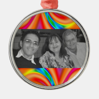 Colorful orange pink photo frame Silver-Colored round decoration