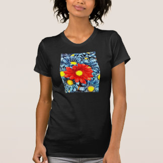 Colorful Orange Red Blue Daisies Flowers Shirt