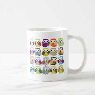 Colorful Owl Pattern Basic White Mug