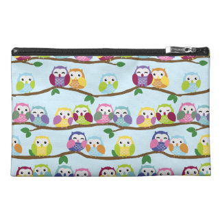 Colorful owls on a branch travel accessory bag