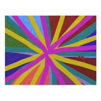 Colorful Paint Doodle Lines Converging Pin Wheel Postcard