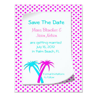 Colorful Palms Save the Date Wedding Announcement