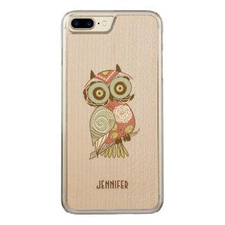 Colorful Pastel Tones Retro Floral Owl Carved iPhone 8 Plus/7 Plus Case