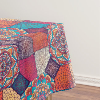 Colorful patchy mandala floral ornament pattern tablecloth