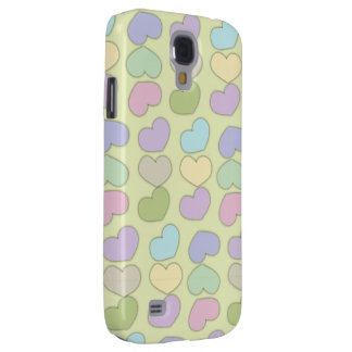 colorful pattern of hearts and green background galaxy s4 case
