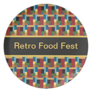 Colorful Pattern Retro Abstract Add Your Own Text Plates
