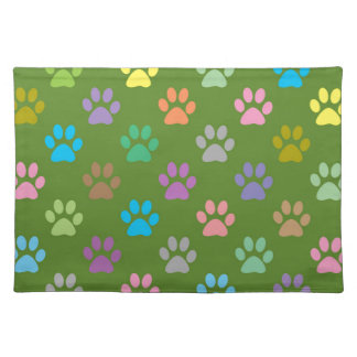 Colorful paw prints pattern placemat