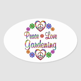 Colorful Peace Love Gardening Oval Sticker