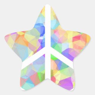 Colorful Peace Symbol Star Sticker
